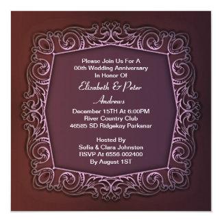 紫色の結婚記念日の招待 カード