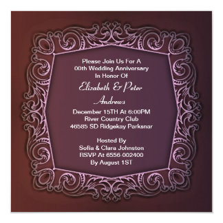 紫色の結婚記念日の招待 13.3 スクエアインビテーションカード