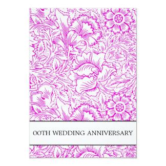 紫色の結婚記念日の花柄 カード