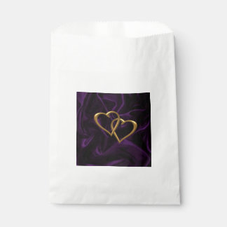 紫色の絹の金ゴールドのハート フェイバーバッグ