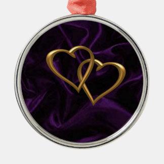 紫色の絹の金ゴールドのハート メタルオーナメント