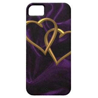 紫色の絹の金ゴールドのハート iPhone SE/5/5s ケース