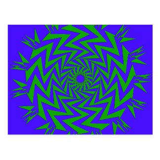 紫色の緑のジグザグ形の当惑 ポストカード