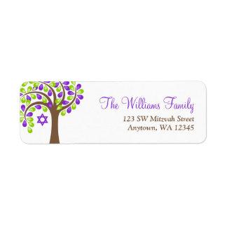 紫色の緑のバルミツワーモダンな生命の樹 ラベル
