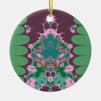 紫色の緑のピンクのレトロ セラミックオーナメント