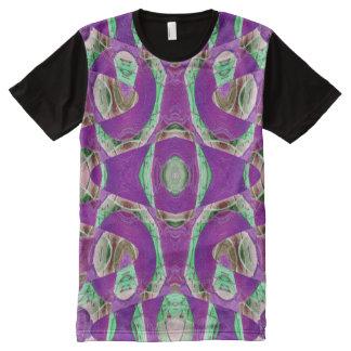 紫色の緑のモザイク模様 オールオーバープリントT シャツ