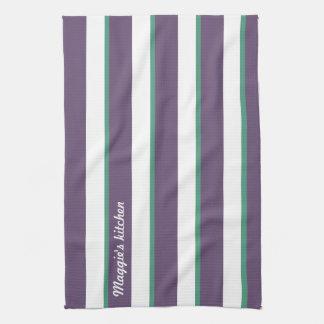 紫色の緑の一流の広く、薄い縦ストライブ柄 キッチンタオル