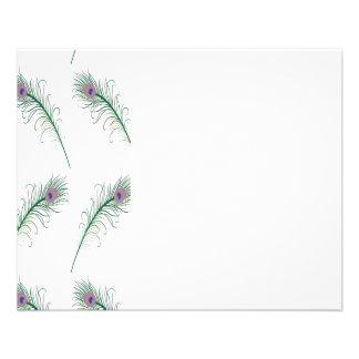 紫色の緑の孔雀の羽のプリント 11.4CM X 14.2CM チラシ
