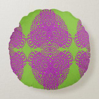 紫色の緑の組合せのヴィンテージによってインスパイア生地のプリント ラウンドクッション