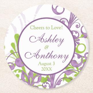 紫色の緑の花の名前入りな結婚式 ラウンドペーパーコースター