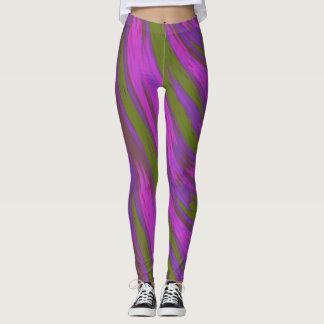 紫色の緑色の棒の抽象芸術 レギンス