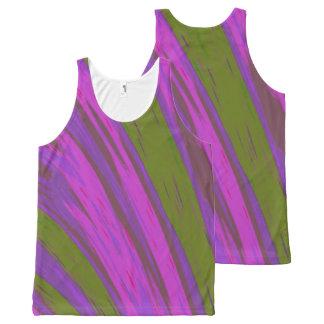 紫色の緑色の棒 オールオーバープリントタンクトップ