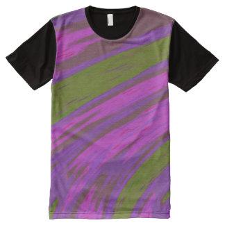 紫色の緑色の棒 オールオーバープリントT シャツ