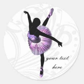 紫色の美しいバレリーナ ラウンドシール