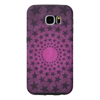 紫色の背景のベクトルのヴィンテージの黒い星 SAMSUNG GALAXY S6 ケース