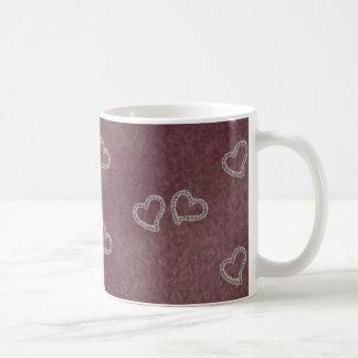 紫色の背景のマグのダイヤモンドのハート コーヒーマグカップ
