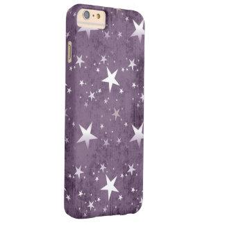 紫色の背景の芸術のヴィンテージの白い星 BARELY THERE iPhone 6 PLUS ケース