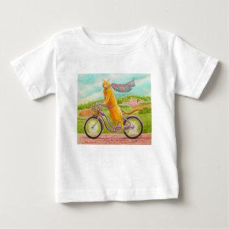 紫色の自転車のオレンジ猫 ベビーTシャツ