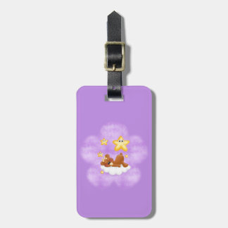 紫色の花くま ラゲッジタグ