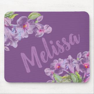 紫色の花のすみれ色のガーリーなマウスパッド マウスパッド