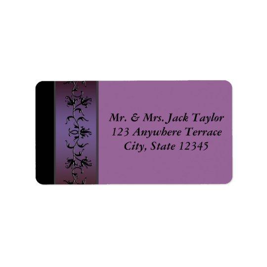 紫色の花のつる植物の紫色の宛名ラベル ラベル