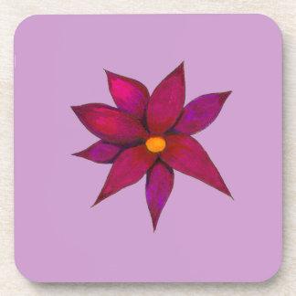 紫色の花のコルクのコースター コースター