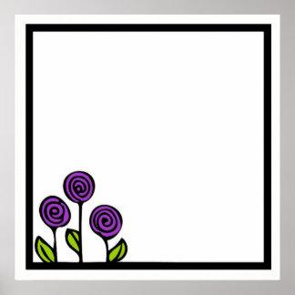 紫色の花のスケッチポスター ポスター