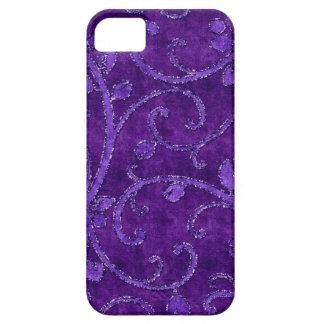 紫色の花のスパンコールのグリッターのビロードの一見の箱 iPhone SE/5/5s ケース