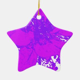 紫色の花のダリアの花模様 セラミックオーナメント