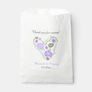 紫色の花のハートの結婚 フェイバーバッグ
