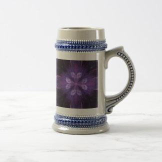 紫色の花のフラクタル ビールジョッキ