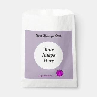 紫色の花のリボンのテンプレート フェイバーバッグ