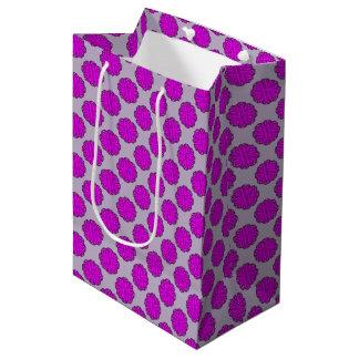 紫色の花のリボン ミディアムペーパーバッグ