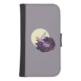 紫色の花の妖精の夕べの空を熟視する月 ウォレットケース