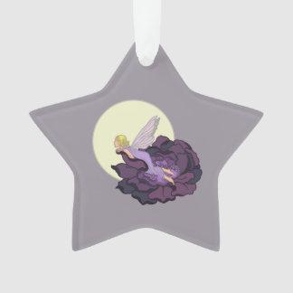 紫色の花の妖精の夕べの空を熟視する月 オーナメント