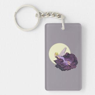 紫色の花の妖精の夕べの空を熟視する月 キーホルダー