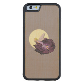 紫色の花の妖精の夕べの空を熟視する月 CarvedメープルiPhone 6バンパーケース