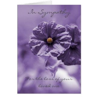 紫色の花の悔やみや弔慰の挨拶状 カード
