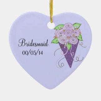 紫色の花の新婦付添人の花束 セラミックオーナメント