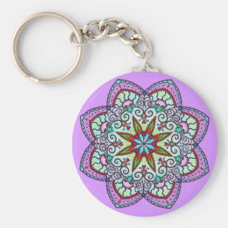 紫色の花の曼荼羅Keychain キーホルダー