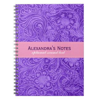 紫色の花の模造のな革デザインのスエードの一見 ノートブック