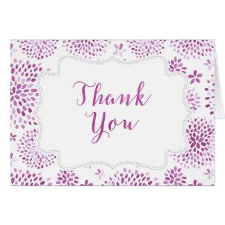 紫色の花の水彩画のサンキューカード ノートカード