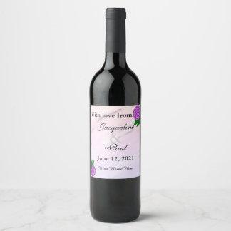 紫色の花の水彩画の結婚式は感謝していしています ワインラベル