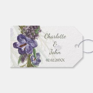 紫色の花の水彩画の結婚祝いのラベル ギフトタグパック