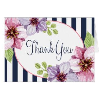 紫色の花の水彩画は青い縞感謝していしています カード