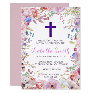 紫色の花の洗礼の/Christeningの招待状の女の子 カード