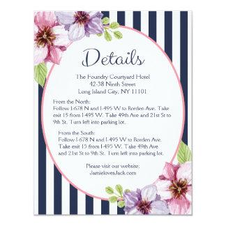 紫色の花の濃紺のストライプの方向/詳細 カード