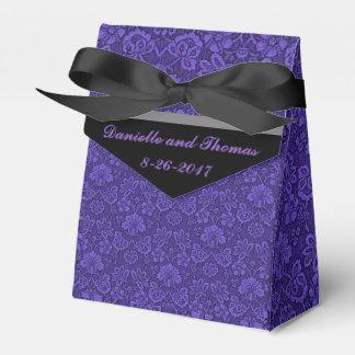 紫色の花の灰色の黒い結婚式の引き出物箱 フェイバーボックス