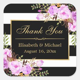 紫色の花の白黒のストライプのな金ゴールドは感謝していしています スクエアシール