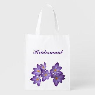 紫色の花の結婚式の新婦付添人 エコバッグ